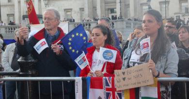 Campaigners rally in Trafalgar Square