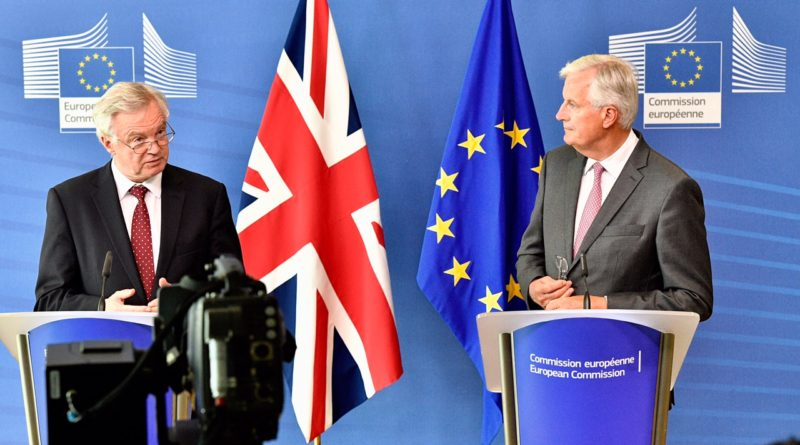 Brexit negotiators outlining different approaches at press conference.