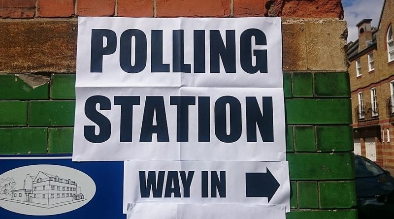 UK elections, polling station.